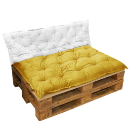 HOOMstyle Mimi palletkussen fluweel - oker geel - 120x80cm - zit