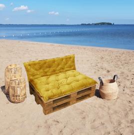 HOOMstyle Mimi palletkussen fluweel - oker geel - set 2 stuks