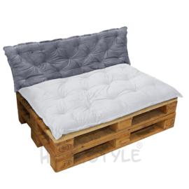HOOMstyle Mimi palletkussen fluweel - grijs - 120x40cm - 1 stuk - rug
