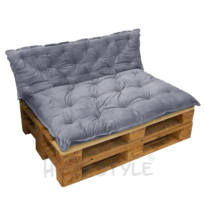 Palletkussen Loungekussen XL 'Lizzy' velours grijs / antraciet (SET)