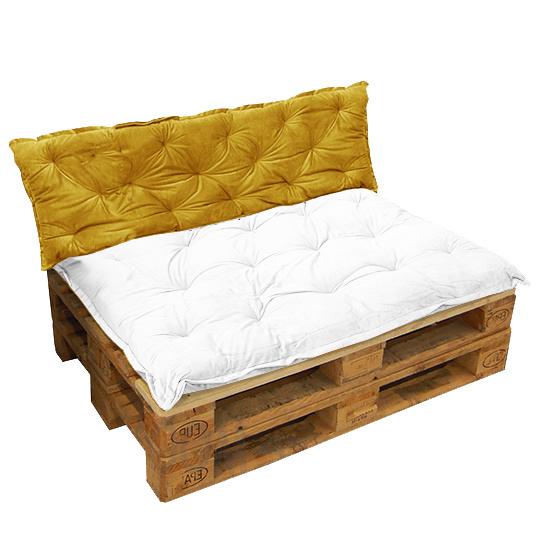 HOOMstyle Mimi palletkussen fluweel - oker geel - 120x40cm - 1 stuk
