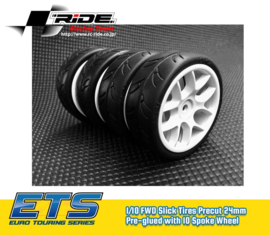 Ride 1/10 Slick Tires Precut 24mm Pre-glued with 10 Spoke Wheel White, 4pcs.(RI-26072)