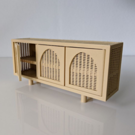 Rattan dresser with arched doors