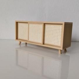 Rattan dresser with sliding doors