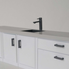 Cabinet with sink and tap