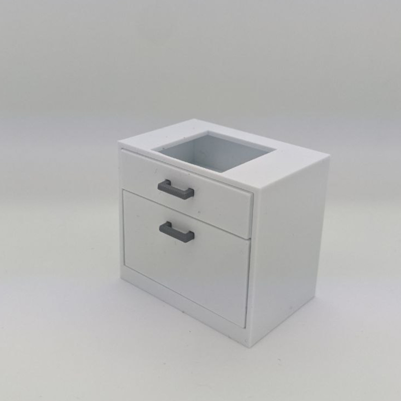 Narrow cabinet with drawers and sink