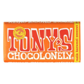 Tony's Chocolonely Melk karamel-zeezout, 180 gr.