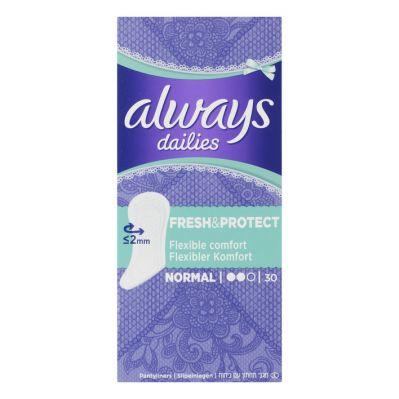 Always Dailies fresh & protect inlegkruisjes, 30 st.