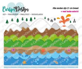 Snijmallen Slimline randen 4 bergen & water
