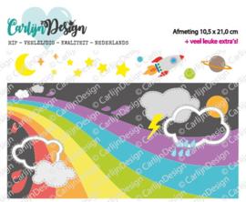 Snijmallen DL Slimline kaart 5 Regenboog