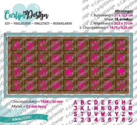 Snijmallen DL Slimline kaart 4 Chocolade alfabet