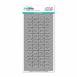 Dies DL Slimline card 4 Chocolate alphabet