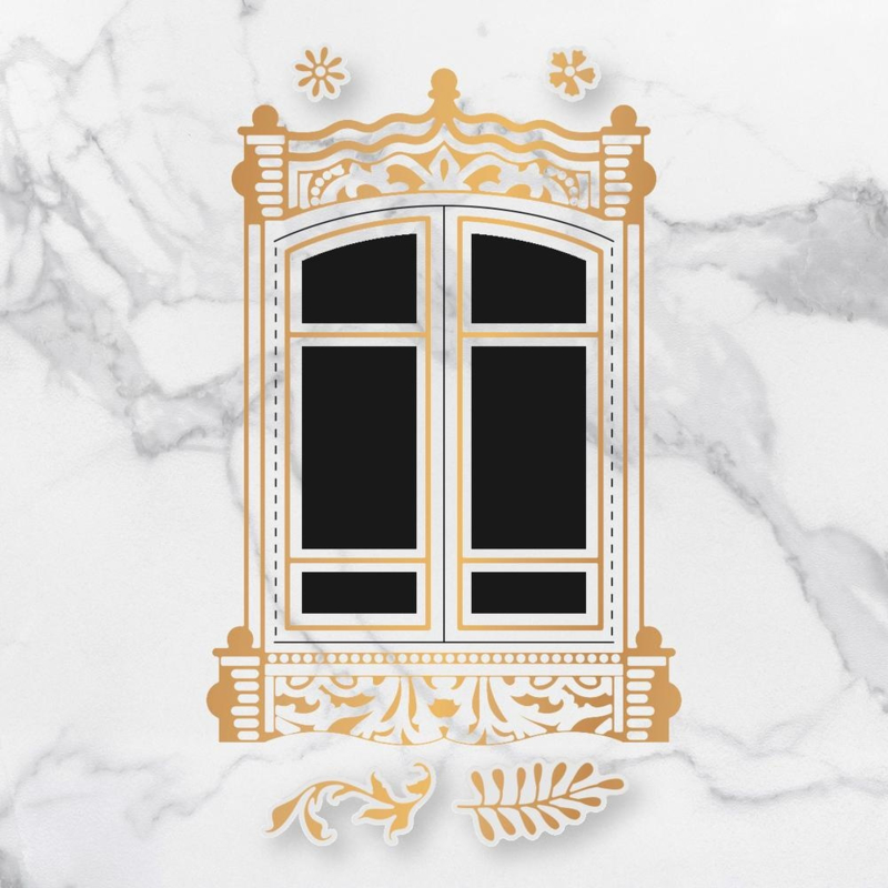 Couture Creations Baroque Window Frame cut, foil & emboss die