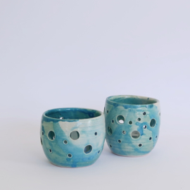 Waxinelichthouders set blauw