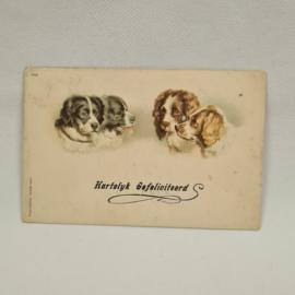 Briefkaart Hartelijk Gefeliciteerd uit 1918