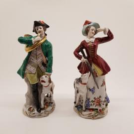 Capodimonte porseleinen beeldjes jachttafereel 18e eeuw
