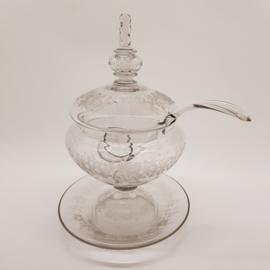 Antieke Glazen Bowl met Glazen lepel, heeft beschadigingen