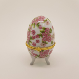 Porseleinen Ei bijouteriebox roze bloemetjes