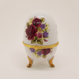 Porseleinen Ei bijouteriebox met roosjes