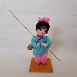 Japans stoffen popje meisje vissen jaren 60