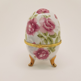 Porseleinen Ei bijouteriebox roze rozen