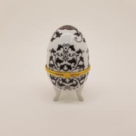 Porseleinen Ei bijouteriebox zwart-wit