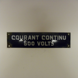 Emaille plaat Courant Continu 500Volts