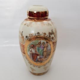 Antiek porselein vaasje met deksel