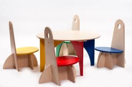 Set van 4 Kinderstoelen met Tafel Apollo Serie
