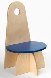 Houten Kinderstoel met rugleuning Apollo design serie Blauw