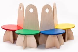 Houten Kinderstoel met rugleuning Apollo design serie Groen