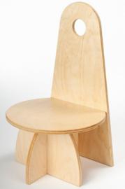 Houten Kinderstoel met rugleuning Apollo design serie Transparant