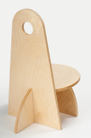 Houten Kinderstoel met rugleuning Apollo design serie Geel