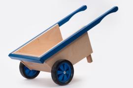 Houten kruiwagen blauw