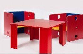Kinder tafel en 2 Stoelen set uit de kubus serie