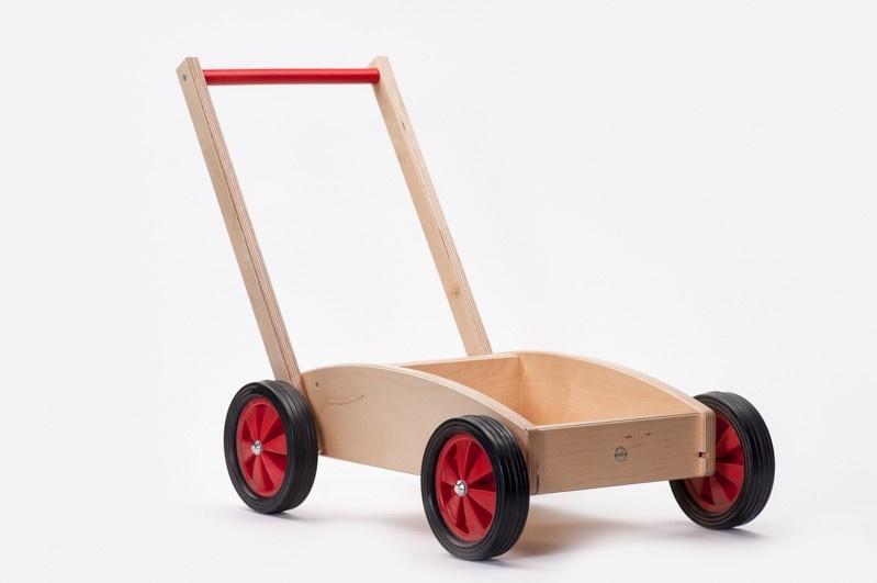 Houten baby duw / loopwagen Rood