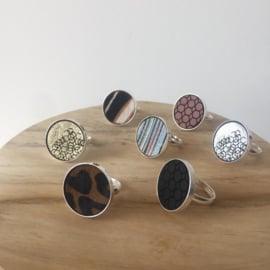 Ring - zwartcognacwit
