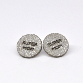 Super Mom - zilver met sparkle leder