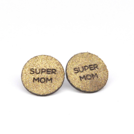 Super Mom - goud met sparkle leder