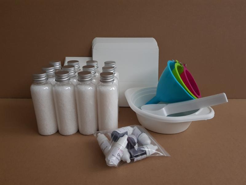 Zelfmaakpakket voor 12 personen badzout geuren en kleuren