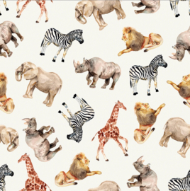 French terry digitale print jungle dieren