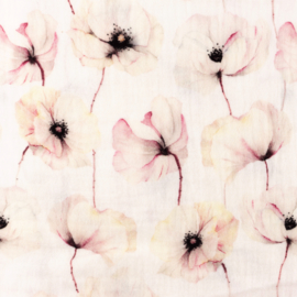 Snoozy fabrics Hydrofiel Witte klaproos
