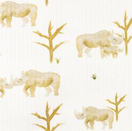 Snoozy fabrics Baby waffle Neushoorn