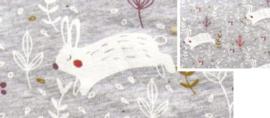Zomerjogging met wellness fleece grijs melange konijntje in het groen