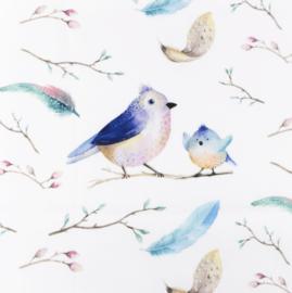 Snoozy fabrics Poplin digital Birds & feathers