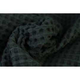 Wafel katoen GROF Zwart
