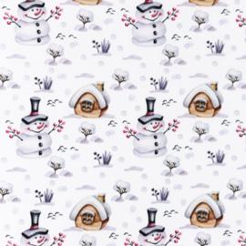 Snoozy fabrics Poplin digital mix snowy