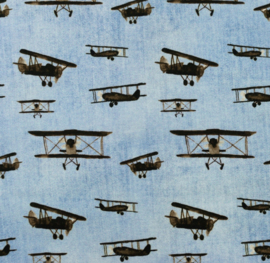 Katoen tricot  Vliegeniers blue