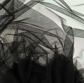 Soepele tule/ mesh Zwart