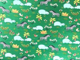 Katoen Nijlpaard & zebra groen